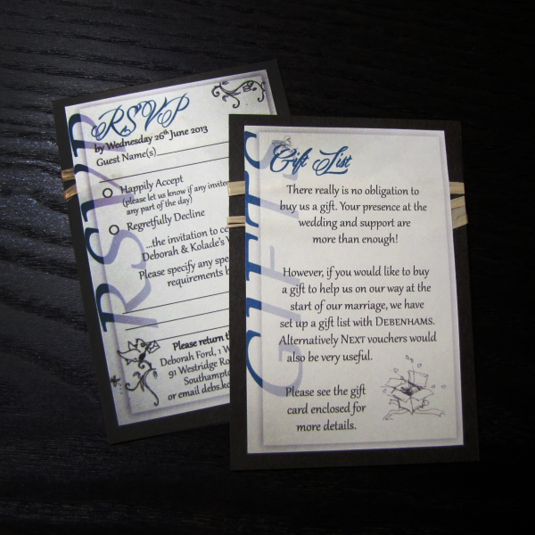 Wedding Stationery - Tropical Lily Extra Details - RSVP & Gift Card