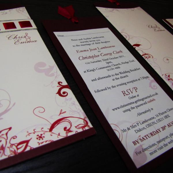 Wedding Stationery - Elegant Swirl Infusion Wedding Stationery Set. Burgundy - pocket style - ribbon feature.