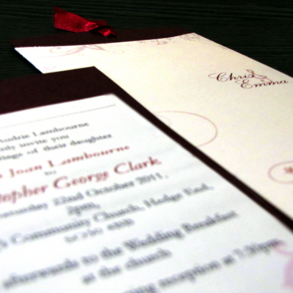 Wedding Stationery - Swirl Infusion Invitation Insert Focus