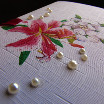 Lily Rose Wedding Invitation Close Up (Pearls and Watercolour Painting)