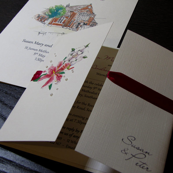 Tiger Lily and Yorkshire Rose Traditional Wedding Stationery