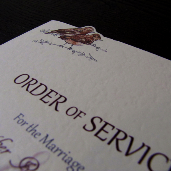 Sky High Order of Service Cover with protruding birds at the top.