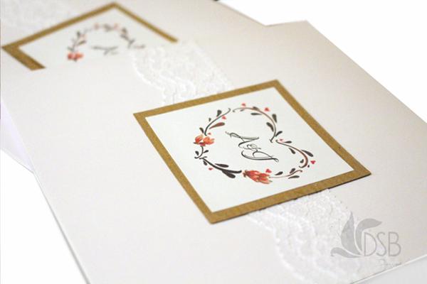 Rustic, lace wedding invitations