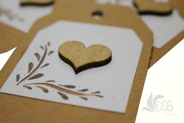 Tags for wedding invitation boxes.